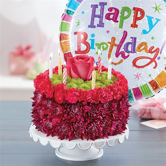 Birthday Wishes Flower Cake TM Purple Sku 148668 148668Lb HR Fd 11 15 16